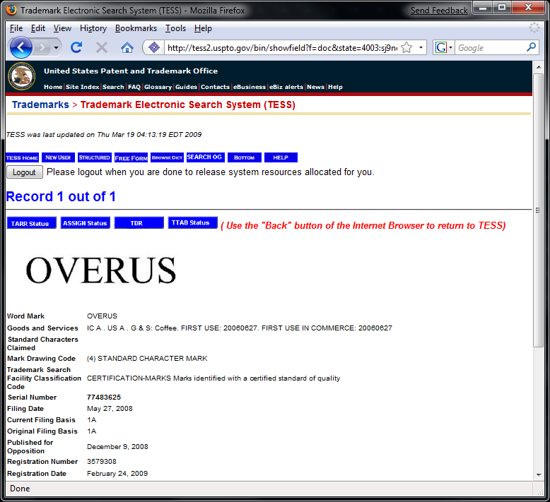 OVerus Trademark Registation ~ United States Patent and Trademark Office (USPTO)
