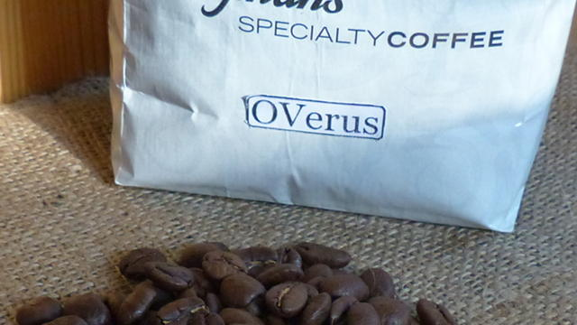 OVerus coffee logo on bag